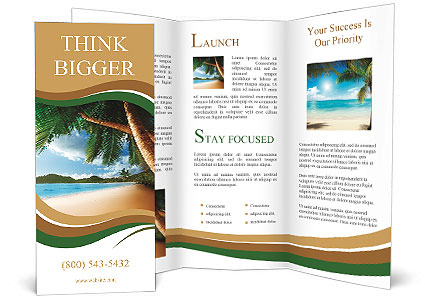 Dream Beach Vacation Brochure Template  Design Id