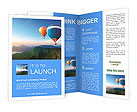 Multi-colored balloons on a background of beautiful mountains Brochure Templates