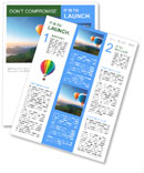 Multi-colored balloons on a background of beautiful mountains Newsletter Template