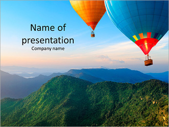 Multi-colored balloons on a background of beautiful mountains PowerPoint Template