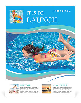 Girl swimming underwater in the pool flyer template for Pool design templates