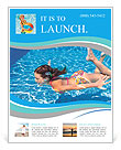 Girl swimming underwater in the pool Flyer Templates
