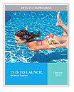 Girl swimming underwater in the pool Word Templates