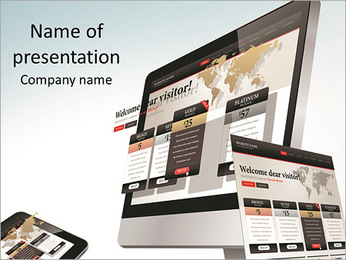 Web design on a monitor PowerPoint Template