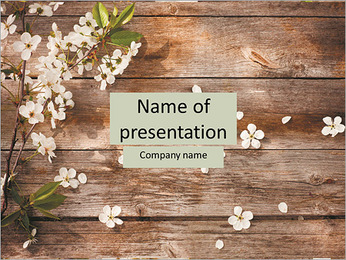 Beautiful flowers on a wooden floor PowerPoint Template
