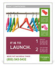 Colorful hangers for clothes on a white background Poster Template
