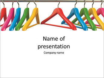 Colorful hangers for clothes on a white background PowerPoint Template