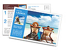 Couple on a tropical beach at Maldives beautiful view Postcard Template