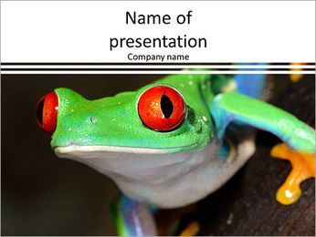 Green frog with red eyes PowerPoint Template