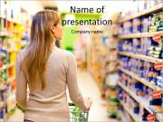 Woman with a trolley at a supermarket PowerPoint Templates