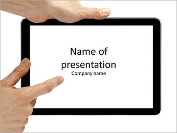 Tablet computer isolated in a hand PowerPoint Template