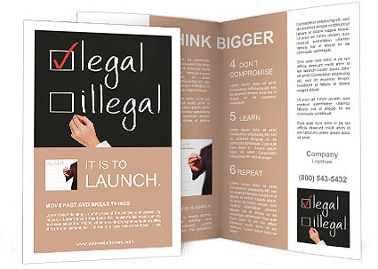 Business Hand Writing Red Check Mark For Legal Selection Brochure