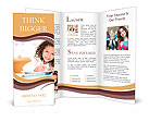 Curly girl smiling Brochure Template