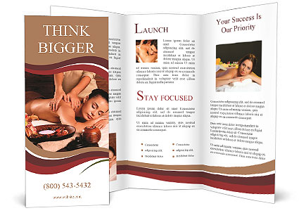 Masseur Doing Massage On Woman Body In The Spa Salon Brochure