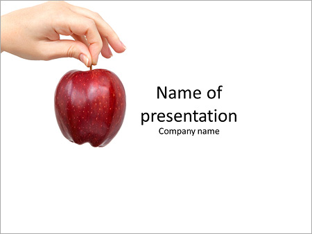 Female Hand Holding A Red Apple Powerpoint Template Backgrounds