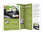 A man in a suit riding and driving Brochure Templates