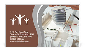 Miniature design of a modern complex of buildings Business Card Template