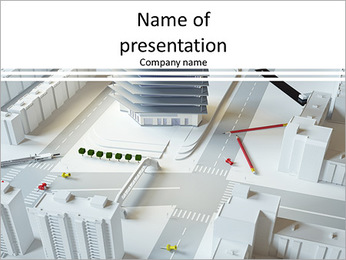 Miniature design of a modern complex of buildings PowerPoint Template