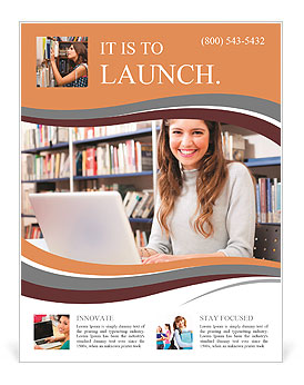 Young Smiling Student Using Her Laptop In A Library Flyer Template - Library brochure templates