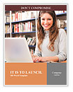 Young smiling student using her laptop in a library Word Template