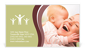Happy cheerful family Business Card Template