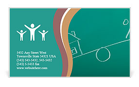 Drawing a mortgage illustration on a green background Business Card Template