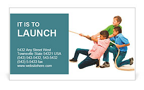 Three guys playing tug of war Business Card Template