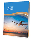 Airplane flying above tropical sea at sunset Presentation Folder