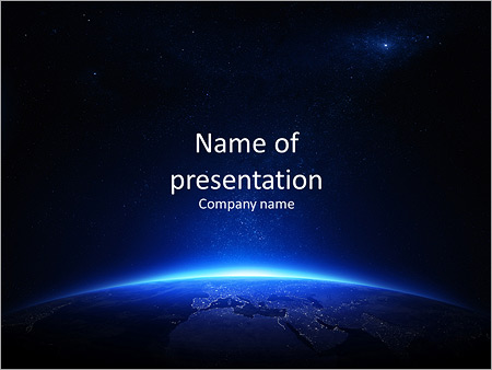 Earth At Night With City Lights On A Black Background Powerpoint