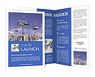 Skiers on a ski lift in the winter resort Brochure Templates
