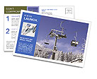 Skiers on a ski lift in the winter resort Postcard Templates