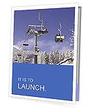 Skiers on a ski lift in the winter resort Presentation Folder