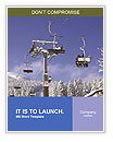 Skiers on a ski lift in the winter resort Word Templates