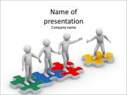 People in the puzzle to help each other PowerPoint Templates