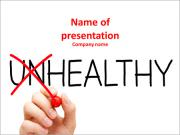 Hand turning the word Unhealthy into Healthy with red marker PowerPoint Templates
