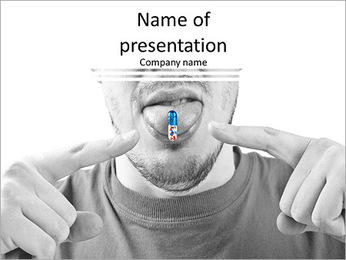 Funny man eating pills PowerPoint Template