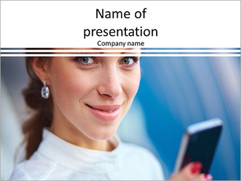 Beautiful business woman looking PowerPoint Template
