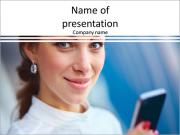 Beautiful business woman looking PowerPoint Templates