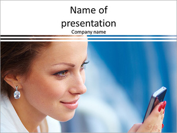Beautiful business woman looking at mobile phone PowerPoint Template