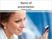Beautiful business woman looking at mobile phone PowerPoint Templates