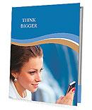 Beautiful business woman looking at mobile phone Presentation Folder