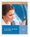 Beautiful business woman looking at mobile phone Word Templates