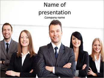 Group of business people smile PowerPoint Template