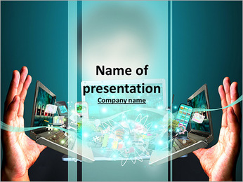 Man holding social object in hand PowerPoint Template