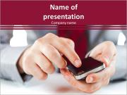 A man in a light suit uses a cell phone PowerPoint Template
