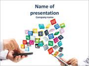 Iconos de las aplicaciones de colores con la celebración de la mano sobre un fondo blanco Plantillas de Presentaciones PowerPoint