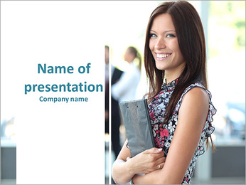 Face of happy beautiful woman PowerPoint Template