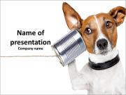A dog with a can simulate phone PowerPoint Templates