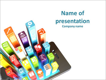 Smartphone apps on a white background PowerPoint Template