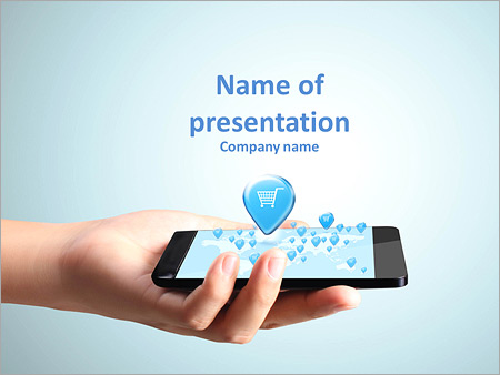 Mobile powerpoint template smiletemplates shopping on modern mobile phone powerpoint template toneelgroepblik Images